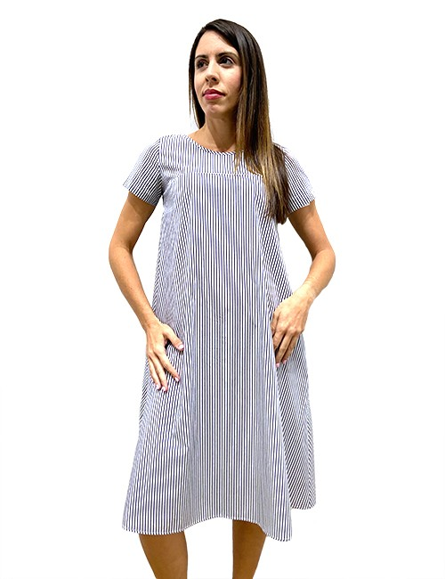 Marilyn Handmade Casual Italian Cotton dress with round collier, one pleat in back and Pockets