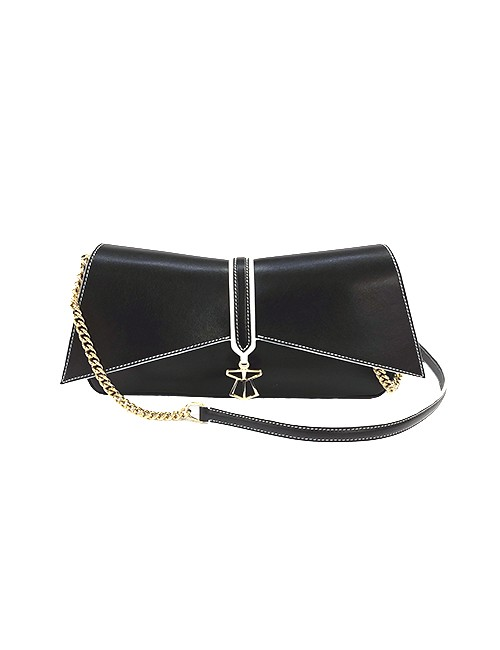Marilyn, handbag-Geometric Flap Front, Magnetic Clasp Tan Blue, and Black White Trim available