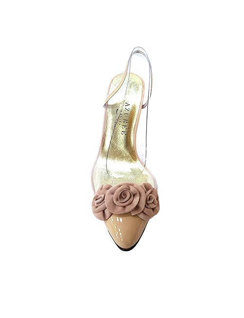 Marilyn French handcrafted Comfortable, Clear, Suede Handmade Flowers on Toe and Patent Leather, Slingback 2.5-inch Heel