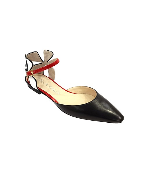 Marilyn, Italian Handmade Comfortable Black, White, Red Unique Flowered Designed Heel with Ankle Strap, Flat, Half-inch Heel Shoes