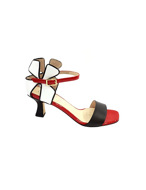 Marilyn, Italian Handmade Comfortable Black, White, Red Open Toe, Unique Flowered Designed Heel with Ankle Strap 2.5-inch Heel Shoes