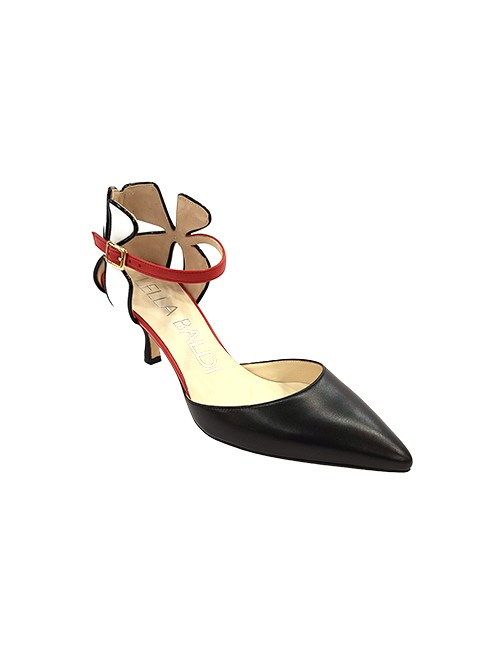 Marilyn, Italian Handmade Comfortable Black, White, Red Unique Flowered Designed Heel with Ankle Strap 2.5-inch Heel Shoes