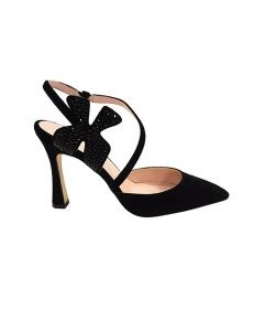 Marilyn, Italian Handmade Comfortable Black, Chic Suede Open Heel with a Flower with Black crystals, 4-inch Heel Shoes