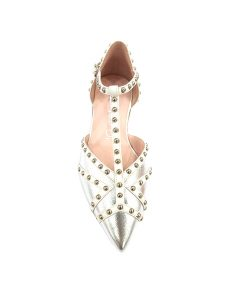Marilyn, Italian Handmade Comfortable Silver and White Leather Tee-strap Flat half-inch Heel Shoes