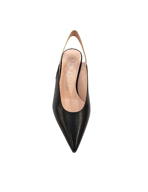 Marilyn, Italian Handmade Comfortable Black, White, and a sliver of Silver Leather Slingback, 3-inch Heel Shoes