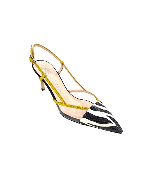 Marilyn, Italian Handmade Comfortable Metallic Gold Strap and Heel, With Textured, Black and White Zebra Print Leather at Toe, Slingback, 3-inch Heel Shoes