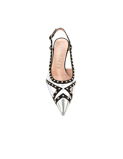 Marilyn, Italian Handmade Comfortable Black Leather Strip Design on Silver, Slingback, with Metal Bead Detail, 3-inch Heel Shoes