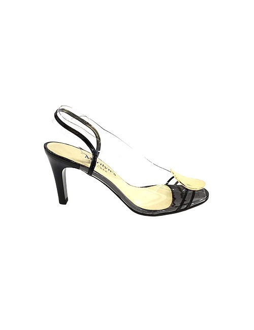 Marilyn French handcrafted Comfortable, Clear, Patent Leather Sling back, Open Toe, Hammered Gold Plated Disc at Toe 3.5-inch Heel