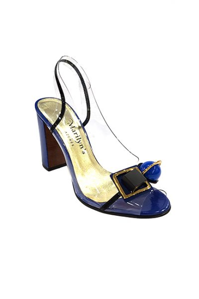 Marilyn French handcrafted Comfortable, Clear, Patent Leather Sling back, Open Toe Geometric Design on Heel and Toe, 3.5-inch Heel