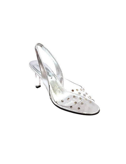 Marilyn French handcrafted Comfortable, Clear, Silver Leather Sling back, Open Toe, Decorated with Swarovski crystals-3-inch Heel