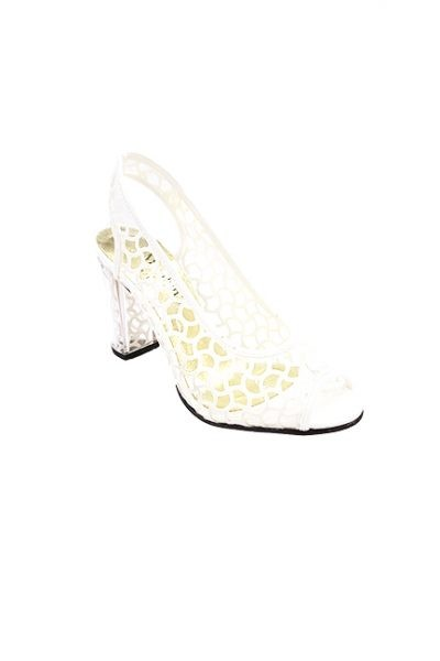 Marilyn French handcrafted Comfortable, Clear, Patent and Leather Sling back, Open Toe Netting Design 3.5-inch Heel