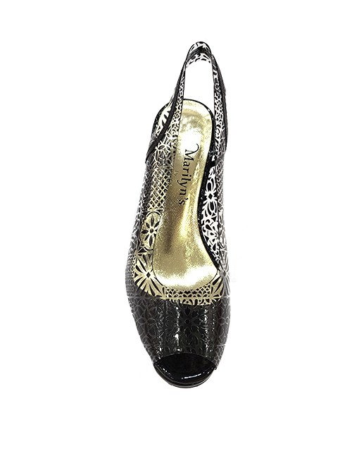 Marilyn French handcrafted Comfortable, Printed on Clear Design, Patent Leather Sling back, Open Toe, 3.5-inch Heel
