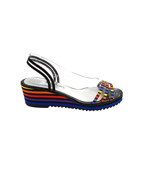 Marilyn French handcrafted Comfortable, Clear, Patent, Printed Leather 0.75-inch, Platform Wedge 1.5-inch Heel
