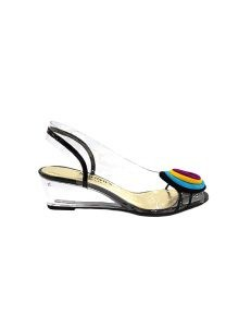 Marilyn French handcrafted Comfortable, Clear, Patent Leather, Sling back, Open Toe, Wedge, Shoe Decorated with Suede Layered Circles at Toe-2-inch High Wedge