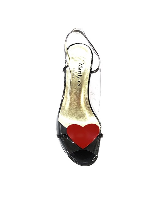Marilyn French handcrafted Comfortable, Clear, Patent Leather Sling back, Open Toe, Heart Shape Disc at Toe 3-inch Heel