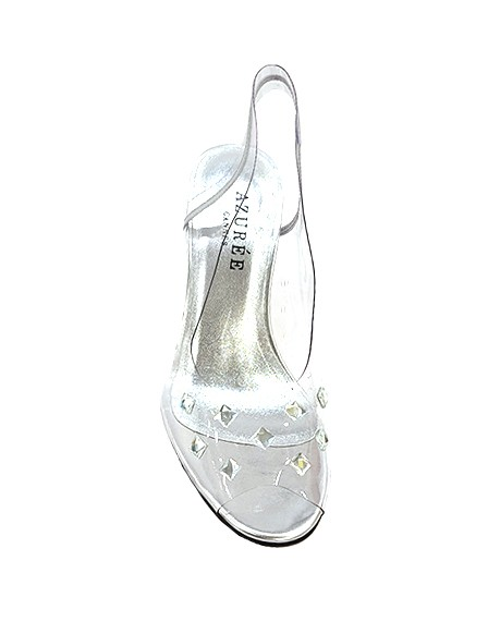 Marilyn French handcrafted Comfortable, Clear, Silver Leather Sling back, Open Toe, Geometric Crystal Heel-3-inch Heel