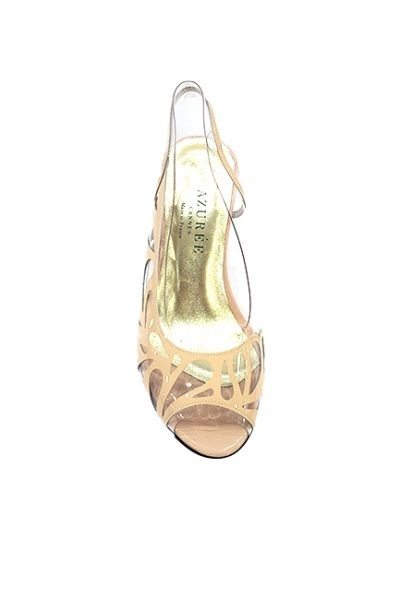 Marilyn French handcrafted Comfortable, Clear, Nude Patent Leather Sling back, Open Toe, Wedge-3-inch Heel