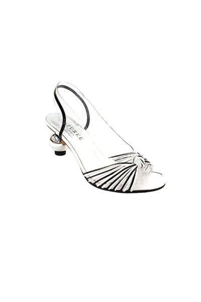 Marilyn French handcrafted Comfortable, Clear, Patent and Leather Sling back, Open Toe Shoe Silver Ball Shaped 2.5-inch Heel