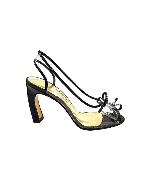 Marilyn French handcrafted Comfortable, Clear, Patent Leather, Sling back, Open Toe, Unique Heel, Shoes, Decorated with Contemporary Bow at Toe-3.5-inch