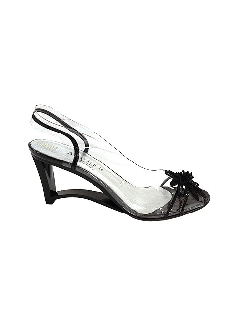 Marilyn French handcrafted Comfortable, Clear, Patent Leather, Sling back, Open Toe, Wedge, Shoe Decorated with Contemporary Flower at Toe-2.5-inch Heel
