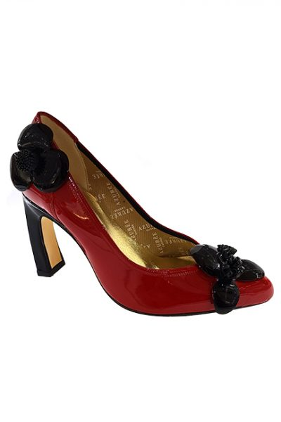 Marilyn French handcrafted Comfortable, Patent Leather, Pump Shoe, Decorated with Patent Leather Flowers -3.5-inch Heel
