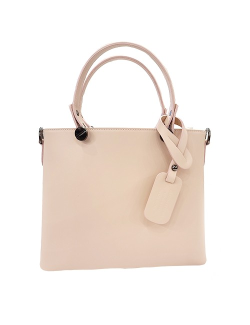 Marilyn Italian Handcrafted Calf Leather Handbags Zipper Closure at Top, Cross Body Strap outside zipper compartment inside and two other pockets