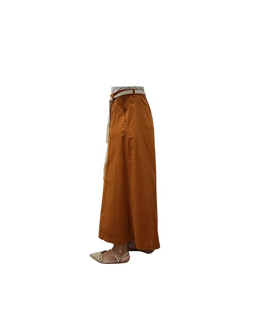 Marilyn Italian Made Stretch Cotton, Palazzo Pant with Macrame Tie Belt with Tassels on ends