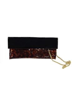 Marilyn French handcrafted Handbag Patent Leather Flap and Tortoise Shell print on Clear Base with Chain Cross Body Strap