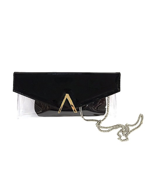 Marilyn French handcrafted Handbag Patent Leather Flap and Clear Base with Chain Cross Body Strap
