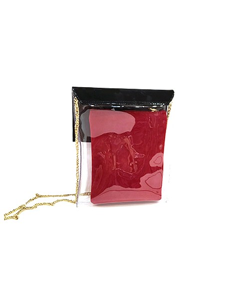 Marilyn French handcrafted Handbag Patent Leather and Clear with Chain Cross Body Strap