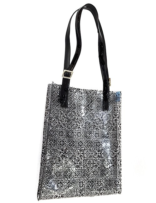 Marilyn French handcrafted Handbag Patent Leather Handles with Black Printed on Clear design for Purse