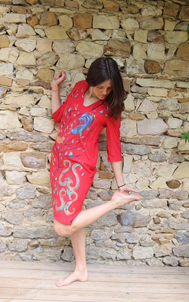 Marilyn France Loup-Maison original Hand painted Silk Arabesque Red Print, Dress