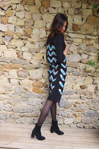 Marilyn France Loup-Maison original Hand painted Silk Chevron Black and Silver Print, Dress