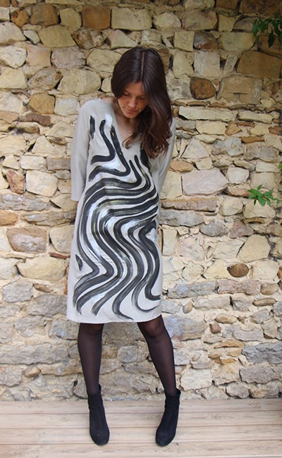 Marilyn France Loup-Maison original Hand painted Silk Zebra Silver Print, Dress