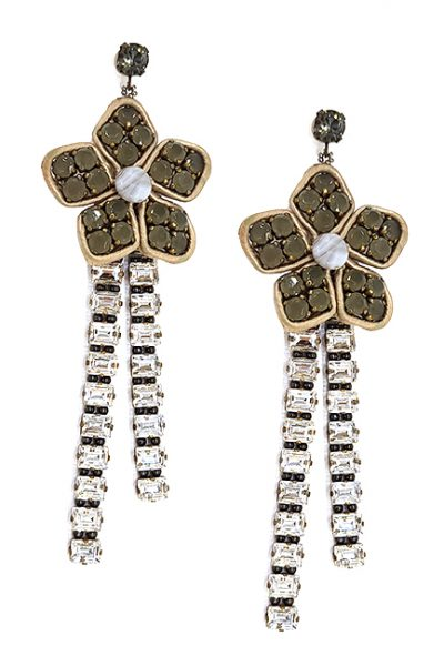 Marilyn Crystal Long Flowered Pierced Earring