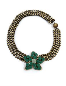 Marilyn Italian Brass Necklace with Green Crystal Flower