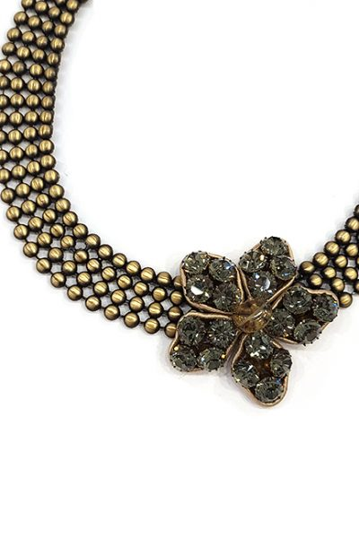 Marilyn Italian Crystals, brass, Flower necklace.
