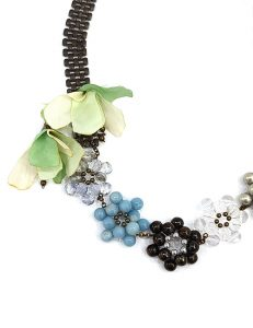 Marilyn Italian Brass, Crystal, Resin Necklace with Silk Flowers