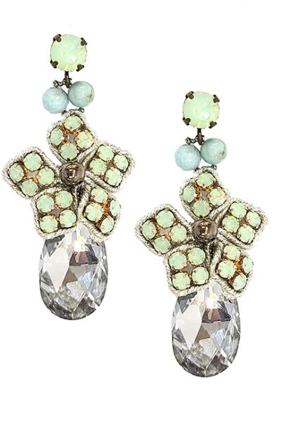 Marilyn Italian Crystal Flowered and Tear Drop, Pierced Earring