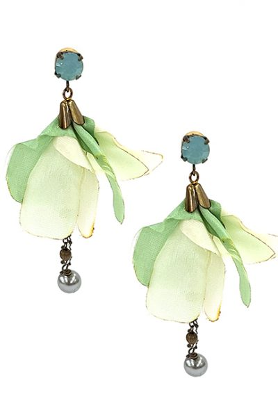 Marilyn Italian Crystal, Brass, Silk Flowered Pierced Earring