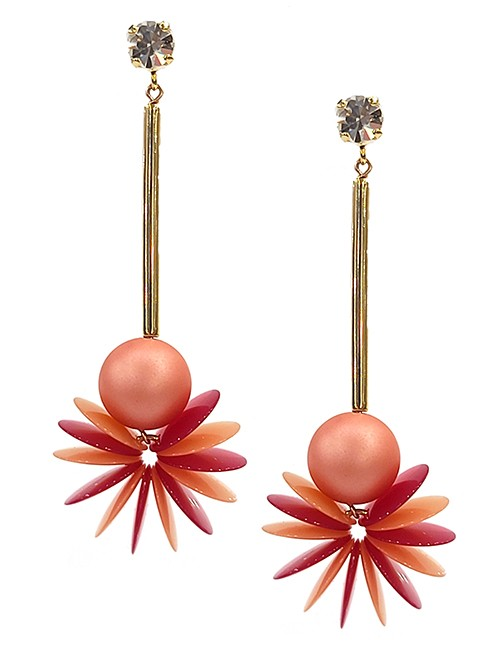 Marilyn Italian Handmade Resin, Brass Geometric Dropped Ball with flared Discs with crystal stud, Pierced Earrings