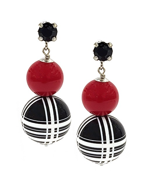 Marilyn Italian Handmade Resin, Brass Pierced Double Balls, Red Ball and stripe bottom ball and crystal stud, Earrings