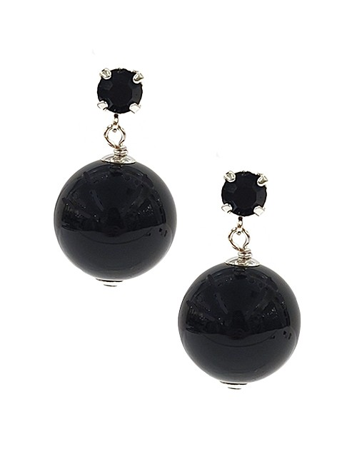 Marilyn Italian Handmade Resin Gloss, Dropped Ball crystal stud, Pierced Earrings
