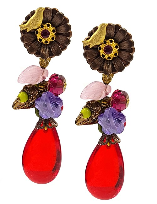 Marilyn Handmade France Classic France Style Pierced Earrings Flower and Glass Pear Drop Bead