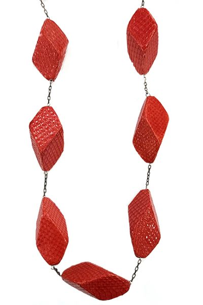Marilyn, Italian Handmade Contemporary Drop with Leather Cubes on a Long Necklace on Thin Chain