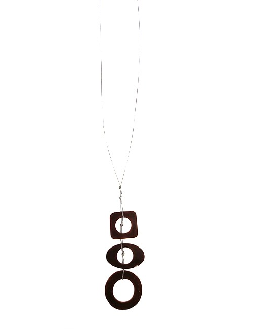 Marilyn, Italian Handmade Three Contemporary Drop Circles, Tinted, Translucent Mother of pearl Edged with platinum paint, on a thin long chain Necklace