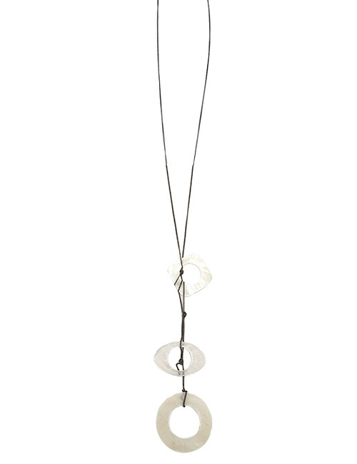 Marilyn, Italian Handmade Three Contemporary Drop Circles, Tinted, Translucent Mother of pearl on a thin long chain Necklace
