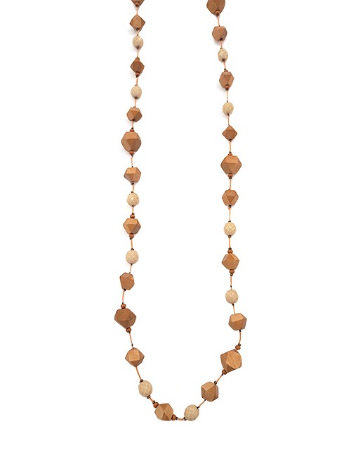 Marilyn, Italian Handmade Wood and Crystal Long Necklace