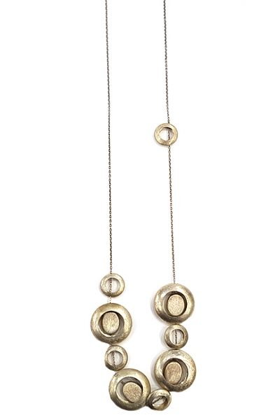Marilyn, Italian Handmade Contemporary Drop Circles of Brushed Silver, Long Necklace on thin Chain
