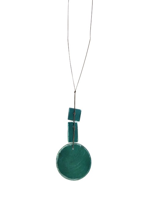 Marilyn, Italian Handmade Tinted Green Translucent Mother of pearl Edged with platinum paint, on a thin long chain Necklace